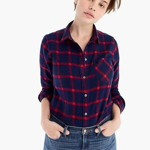 J. Crew Classic Fit Block Plaid Flannel Shirt 16
